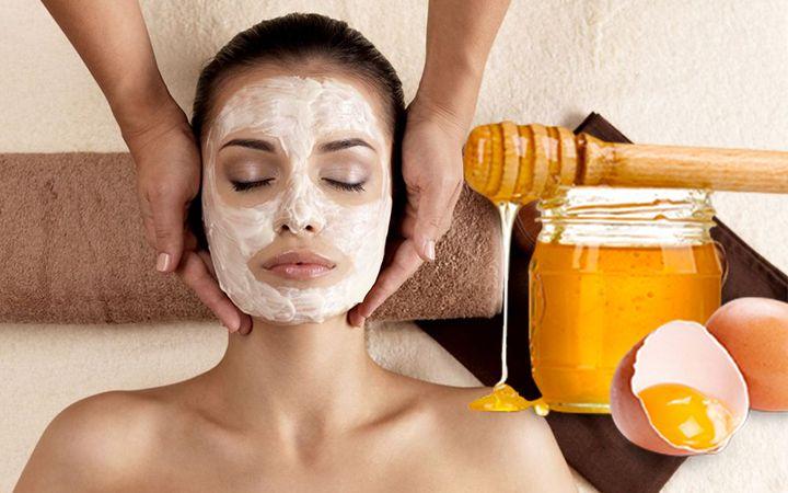 маска для лица на основе мёда и яйца